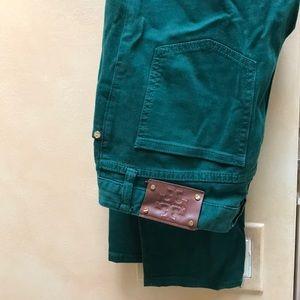 Tory Burch super skinny green jeans